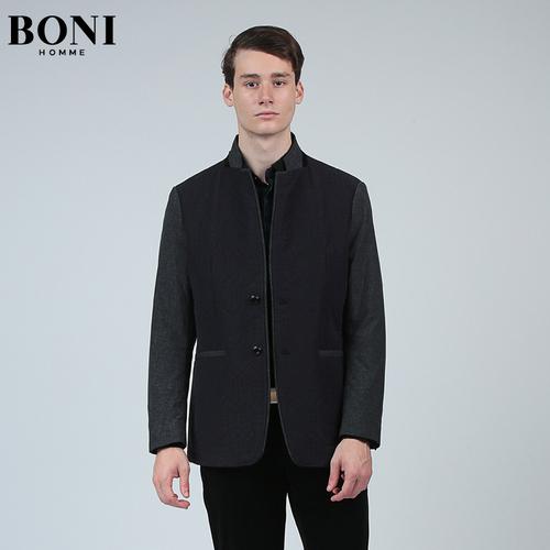 BONI/堡尼男装中年男士休闲棉服薄款男上衣外套棉衣IV67121B