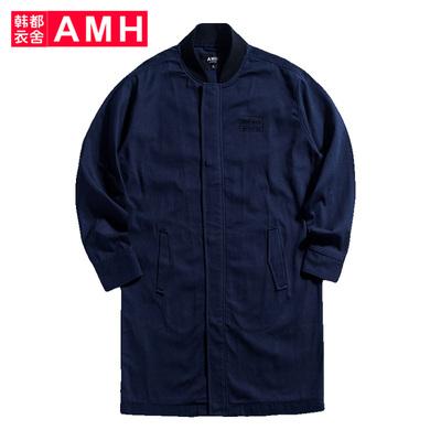 AMH韩版男装春装2018潮流休闲棒球领中长款外套夹克男GR7286琳喆