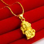 千影珠寶 黃金項鏈墜子男女款3D硬金999足金招財進寶生肖屬相猴子