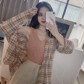 大学生开学季女装 外穿宽松 衬衣女2019新款 格子衬衫 长袖 女宽松韩版图片