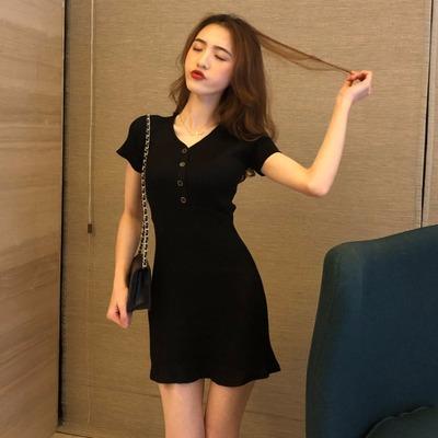 春秋季新款韩版高腰修身气质显瘦酒红色针织连衣裙女短袖V领裙子