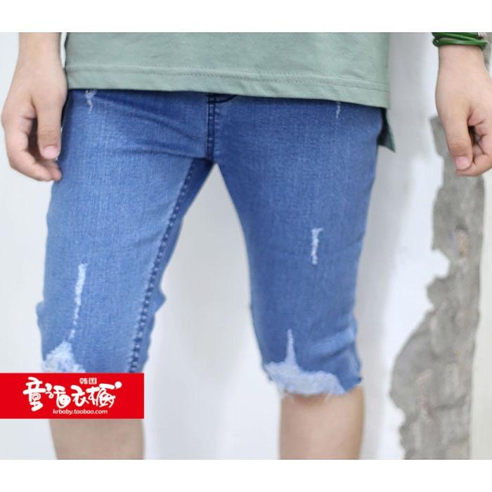 特韩国进口童装2018夏装Numero男女童裤子中大童牛仔五分裤63613