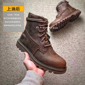 CAT卡特 男鞋工装鞋春夏高帮真牛皮短靴马丁靴系带户外 P720582