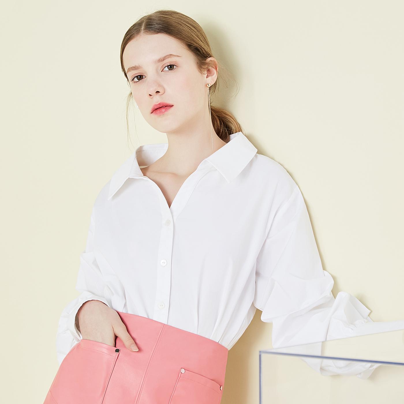 糖力2018春秋季新款女装白色衬衫纯棉长袖上衣休闲宽松半开领衬衣