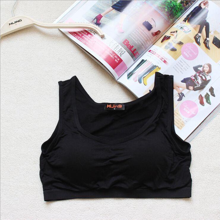 无钢圈短款莫代尔带罩杯胸垫半身Bar-T瑜伽女士打底小背心吊带