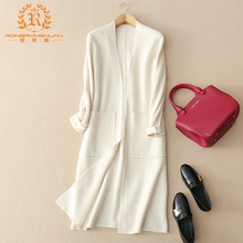 Autumn and winter white cashmere cardigan Korean version pure wool overcoat slim medium and long style 100-tie jacket knitted sweater woman