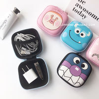 Korea Creative Headphones Storage Bag Cute Cartoon Data Cable Charger Storage Box Mini Coin Purse Female