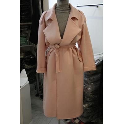 反季清仓秋装时尚韩版翻领系带呢子大衣毛呢外套女装风衣中长款