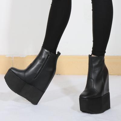 小码32 33厚底松糕短靴女2018冬季休闲真皮内增高超高跟16cm棉靴