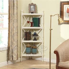 实木墙角架角落架简约现代象牙白三角架角柜简易书架置物展示架子
