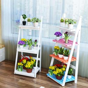 实木创意白色阳台花架角落地多层架宜家客厅田园木质装饰置物架子
