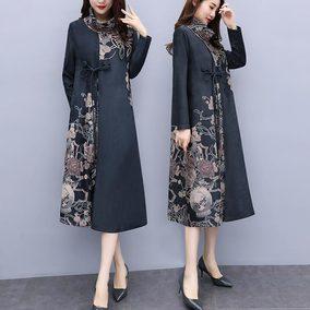 大码女装秋季连衣裙女长袖2018新款气质胖妹妹遮肉显瘦假两件长裙
