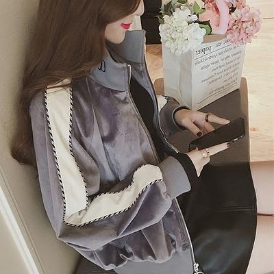 秋季新款时尚前卫字母刺绣宽松金丝绒外套女立领长袖显瘦上衣潮@