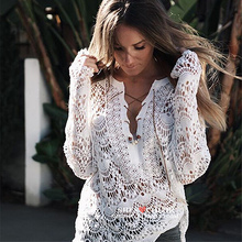 Seaside holiday lace jacket hollow out beach sunscreen suit hot spring swimming suit pullover with bikini blouse jacket