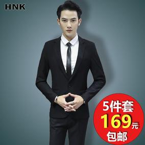 西服套装男士青年韩版帅气三件套上班正装修身结婚学生小西装薄款