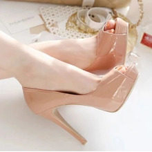 Single Shoe Woman 2019 New Spring Genuine Leather Naked Light-mouthed Fish Mouth Fine-heeled Single Shoe Waterproof Table High-heeled Wedding Shoe Woman