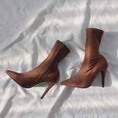 靴子针织袜靴瘦瘦靴细跟中筒短靴尖头秋冬裸靴 弹力袜子靴女高跟鞋图片