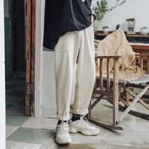 原宿风纯色工装直筒裤潮男士韩版潮流宽松休闲裤子春秋季哈伦长裤