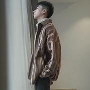 春秋季复古毛呢料OVERSIZE长袖衬衫男潮韩版撞色条纹帅气宽松外套