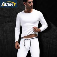 Acefit 男士保暖内衣秋冬加厚加绒圆领青年修身防寒保暖套装白色