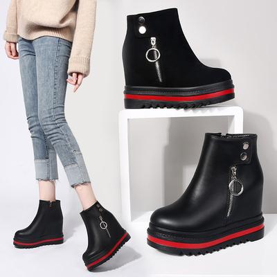 靴子女短靴马丁靴2018新款厚底内增高坡跟韩版短筒百搭秋冬季鞋子
