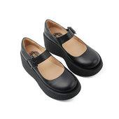 BOWSTRING 19FW 复古牛皮厚底玛丽珍鞋松糕底大头皮鞋女
