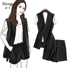 New fashionable black-and-white striped sleeveless small suit and waistcoat for women in the summer of 2019 mid-long hot pants trend