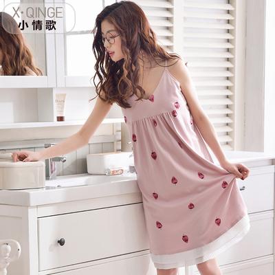 夏季纯棉睡衣女士夏天睡裙吊带大码睡裙韩版可爱宽松薄款家居服