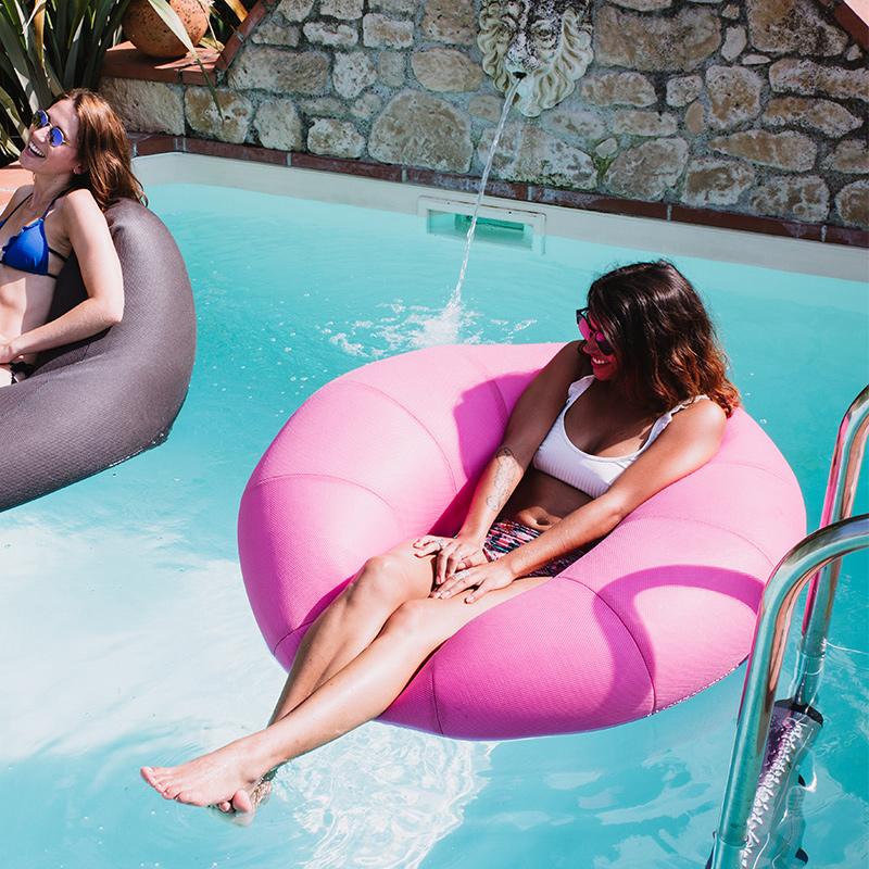 法国Lazylife 不会下沉海滩泳池神器安全舒适 大号圆形豆袋游泳圈