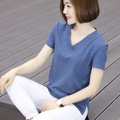 韩版 衣服新款 棉体恤 半袖 上衣夏季大码 竹节棉t恤女2018显瘦v领短袖