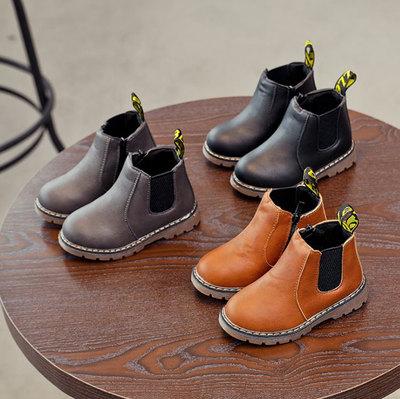秋冬儿童马丁靴女童靴子宝宝雪地靴防水防滑皮靴男童短靴棉鞋棉靴