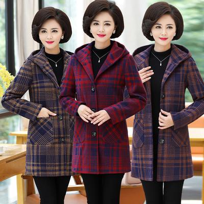 妈妈装毛呢外套中老年女装秋冬呢子大衣40-50岁中年妇女格子外套
