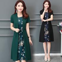 2019春秋新款韩版妈妈装遮肚子假两件短袖印花过膝长裙大码连衣裙