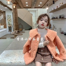 Fall and Winter 2019 New Korean Girls'Clothes Pure Collar Turn-down Lamb Fur Children's Thickened Coat