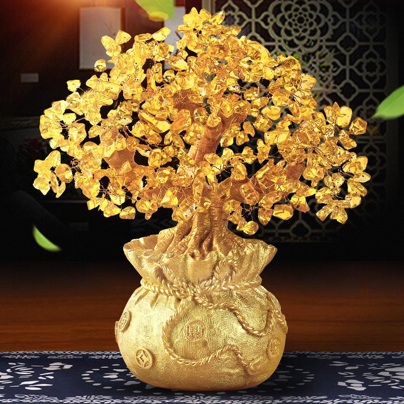 黄水晶摇钱树摆件小招财树家居创意酒柜家装饰品客厅电视柜发财树