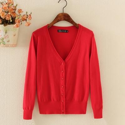 针织开衫女 V领春秋韩版空调衫大码女毛衣修身短款长袖外搭小外套