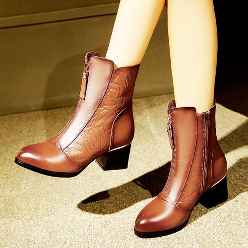 安迪拉2018新款欧美复古风真皮秋冬女靴时尚短靴粗跟马丁靴牛皮靴