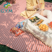 Fan Fan the same picnic mat red white lattice thickened outdoor portable moisture-proof pad foldable tent Waterproof Camping mat