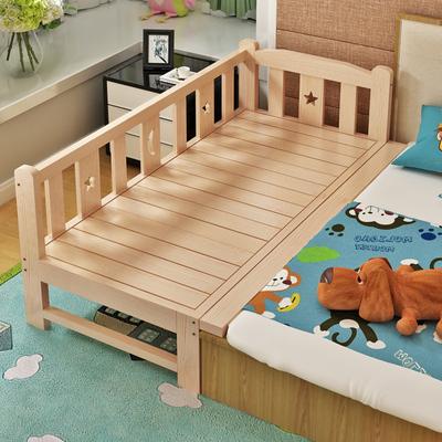 实木儿童床婴儿床拼接床宝宝床带护栏原木单人床加宽床小孩床