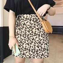 摩妮卡大码法式时髦半身裙夏季2019新款女装高腰显瘦宽松豹纹短裙