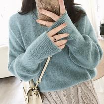 摩妮卡大码毛衣2019春款女装胖mm宽松慵懒显瘦针织衫冬装新品