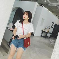 摩妮卡2018夏季新品200斤胖MM显瘦百搭大码女装字母印花短袖T恤