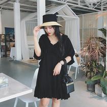 摩妮卡大码女装黑色连衣裙胖mm夏装新款显瘦遮肉减龄花边中长裙