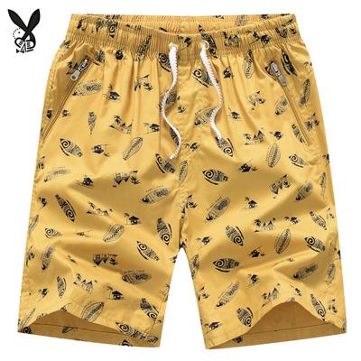夏季休闲纯棉五分沙滩短裤男士居家宽松裤衩大裤头外穿口袋拉链潮