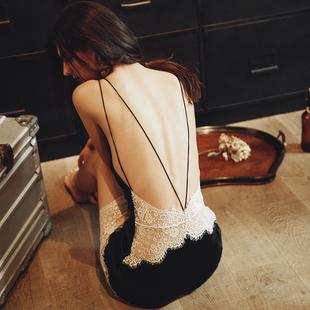 睡我最长情性感睡衣女夏蕾丝边交叉绑带大露背吊带睡裙短裙家居服