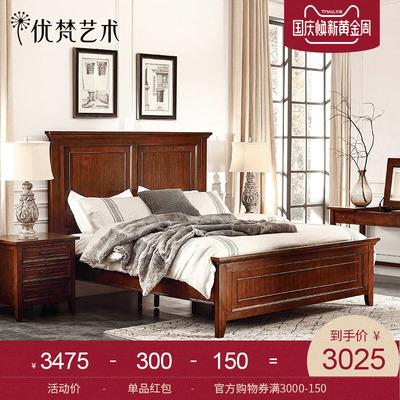优梵艺术Payne美式乡村实木脚双人婚床1.8m米简约次卧家具小户型