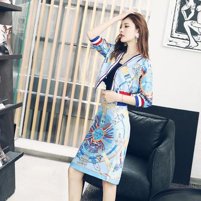 名媛女装夏装2018新款印花运动上衣休闲收腰半身裙子高腰显瘦套装