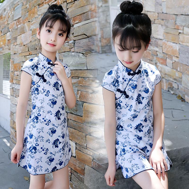 女童旗袍夏季2018新款小朋友夏装儿童小孩子中式古典公主裙连衣裙