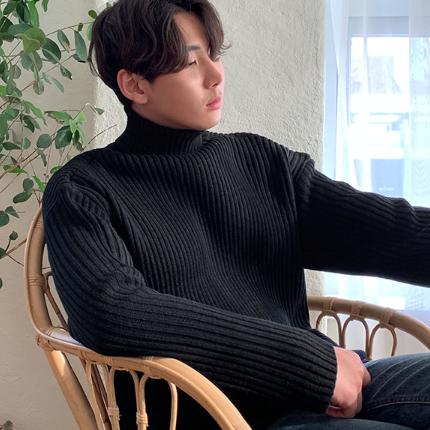 韩国官网代购2018秋冬季高领套头毛衣男线衣打底衫青年宽松针织衫
