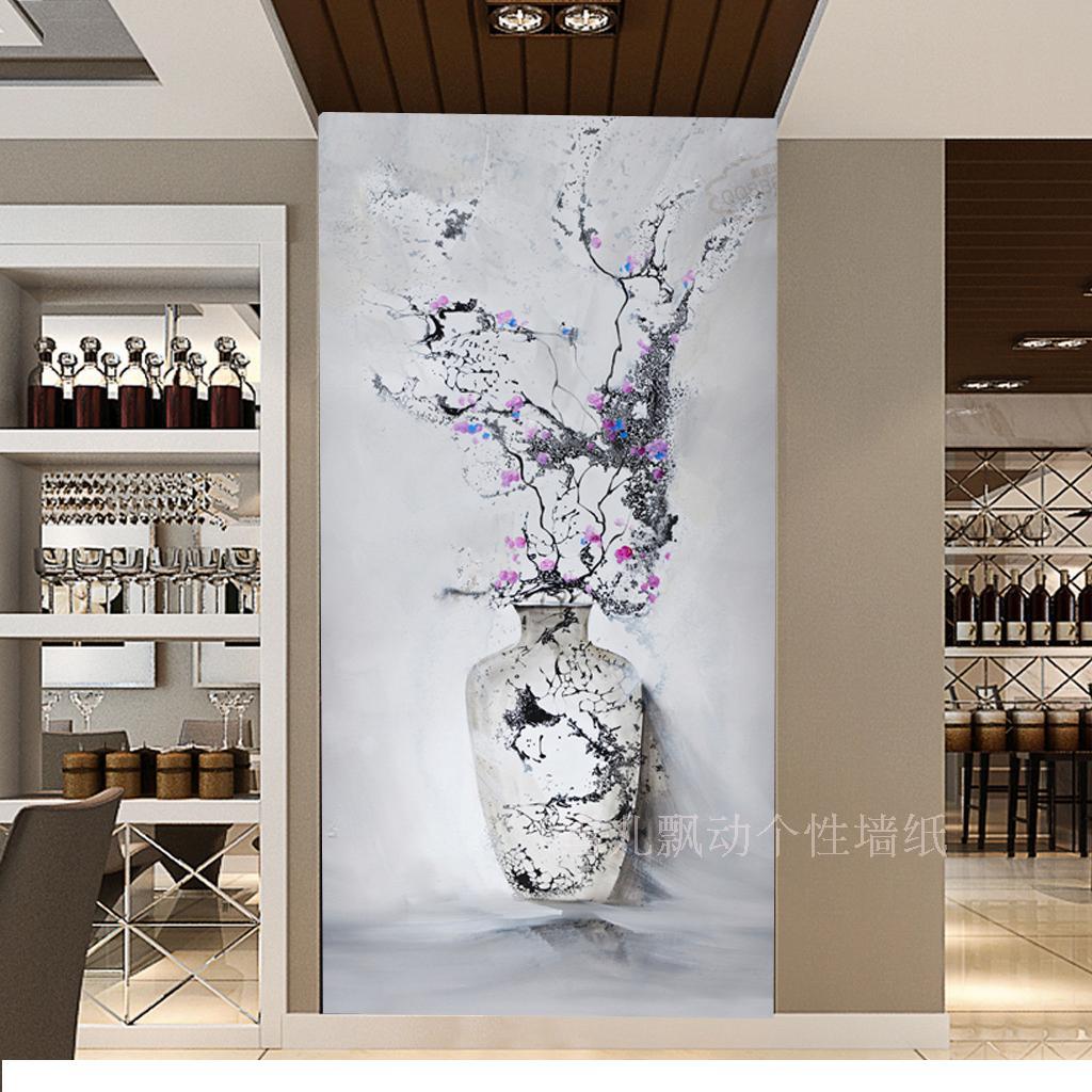 欧式抽象花瓶壁画